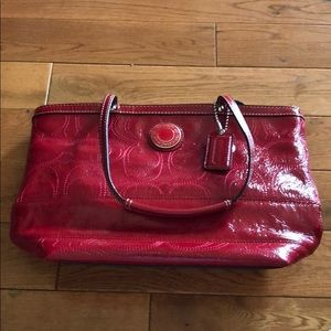 Shiny Red Coach Purse